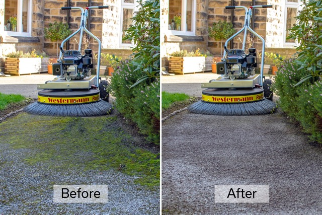 Tarmac driveway cleaning machine before and after photo
