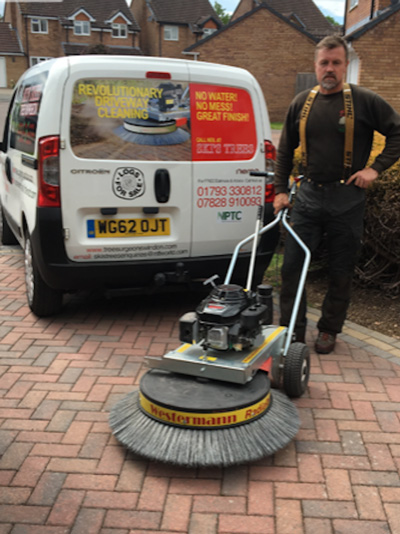 Block paving driveway cleaning with Westermann machine